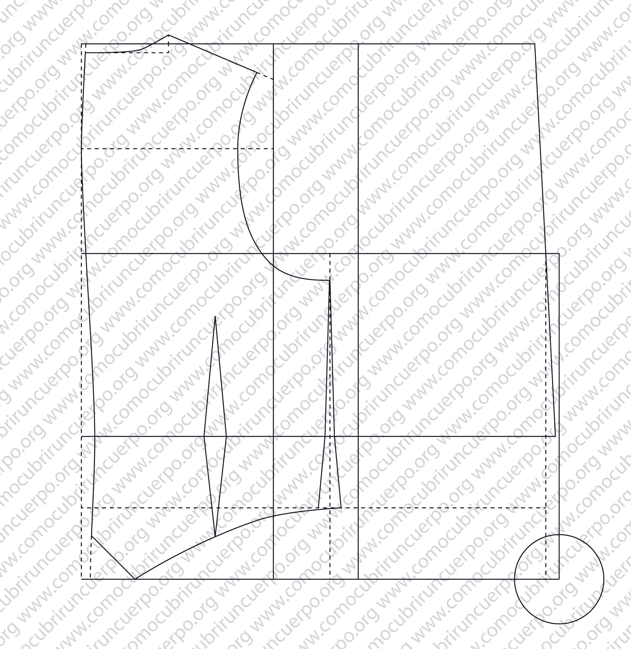 Trazado base del patrón del chaleco masculino