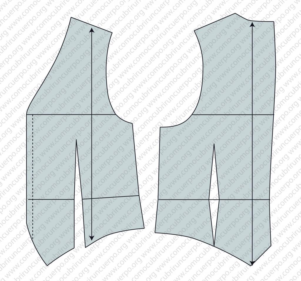 Despiece del patrón del chaleco: forro, enformas y plastrones - Patrón del Chaleco Base Masculino
