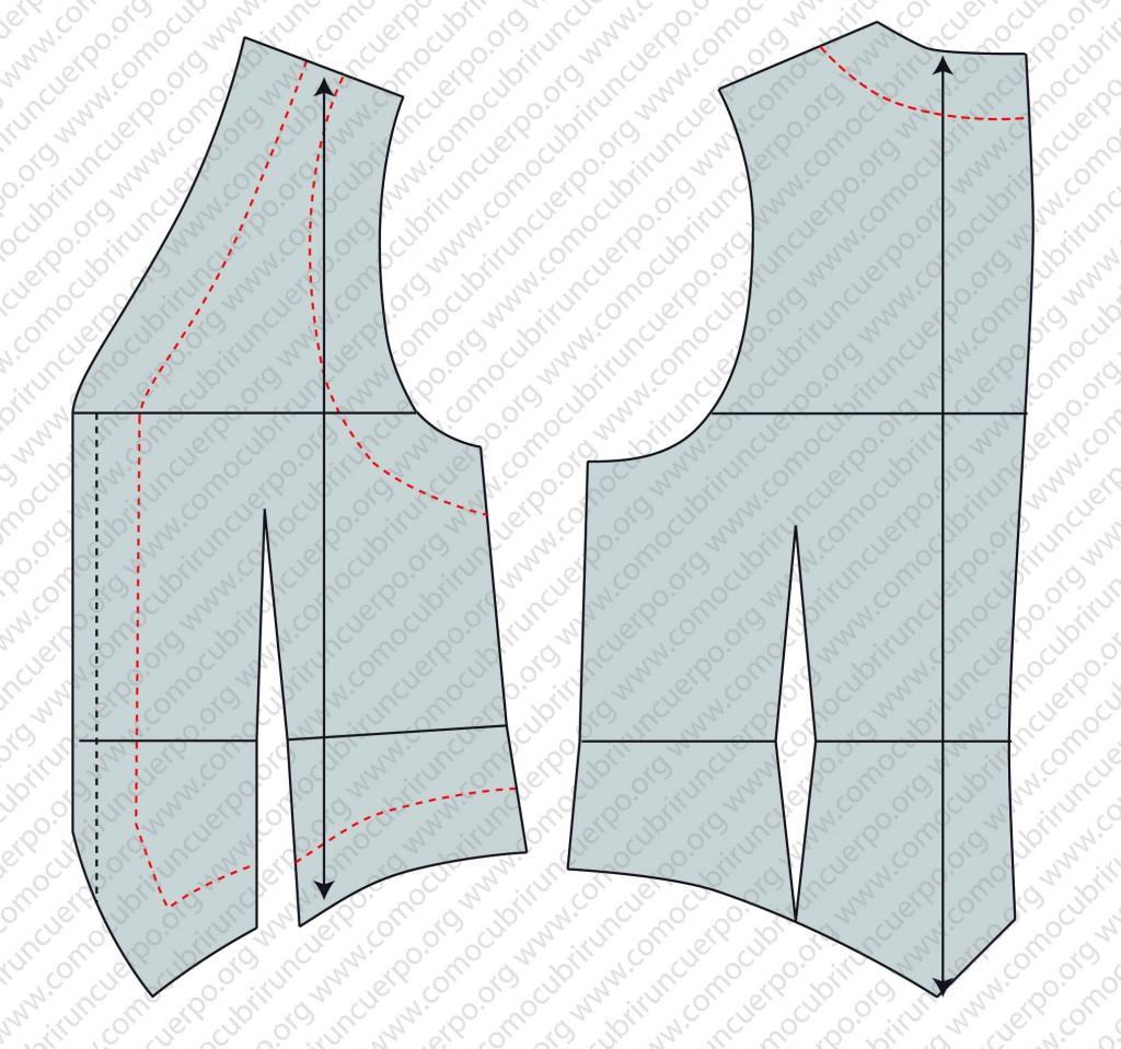 Despiece del patrón del chaleco: forro, enformas y plastrones - Trazado de enformas del chaleco