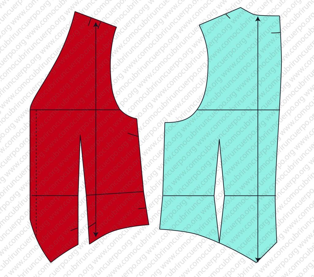 Despiece del patrón del chaleco: forro, enformas y plastrones - Despiece del delantero y posterior