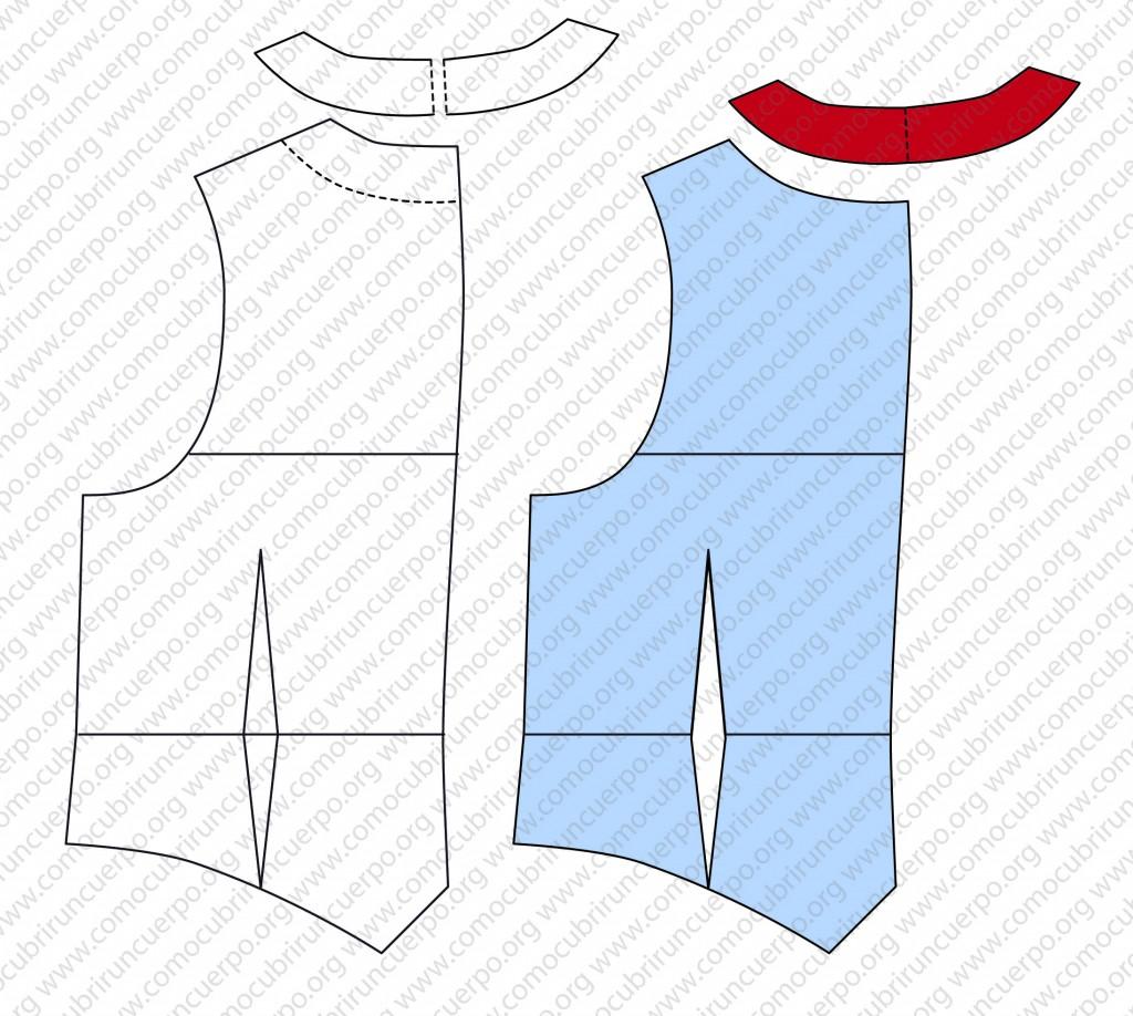 Despiece del patrón del chaleco: forro, enformas y plastrones - Recorte enformas espalda patrón chaleco