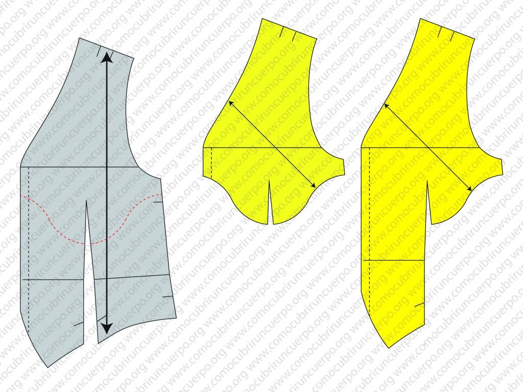 Despiece del patrón del chaleco: forro, enformas y plastrones - Plastrones del chaleco masculino