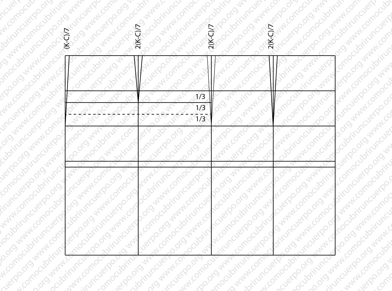 b2dd7a532a A partir de la intersección línea de cintura con línea de mitad espalda  detraeremos el valor de (K-C) 7 y trazaremos una línea desde la cintura  hasta la ...